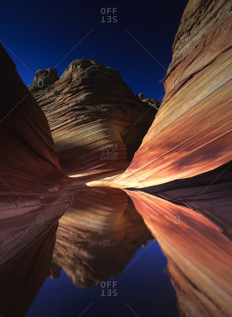 Curved rock walls with colorful striations in Arizona