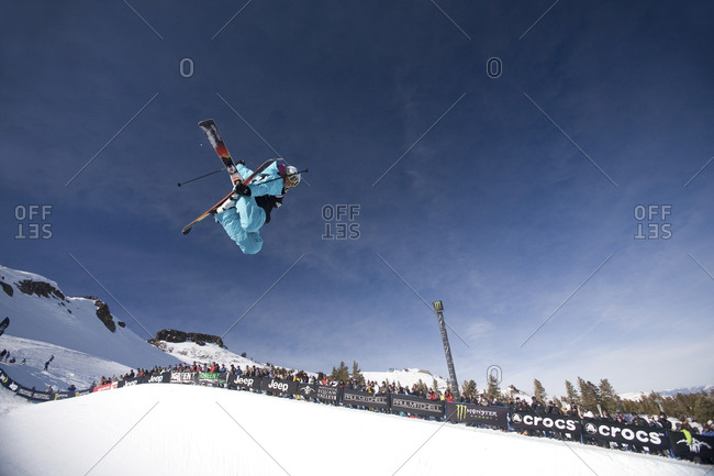 Skier performing a trick in mid-air