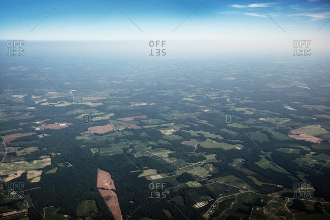 Aerial view of towns, farms and forests