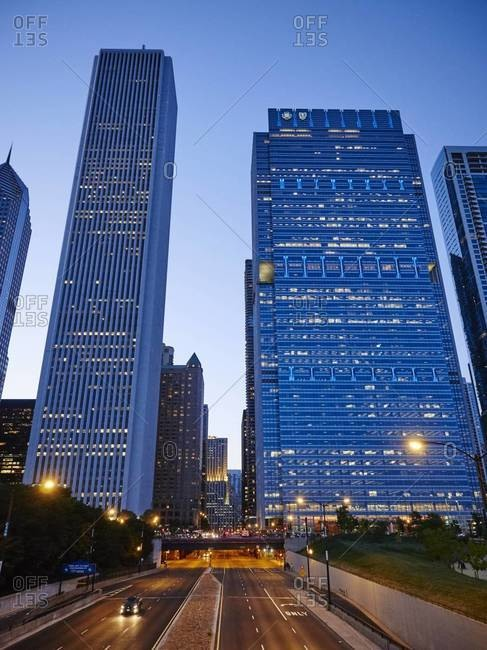 Chicago, Illinois, USA - September 1, 2015: Aon Center, Blue Cross Shield Tower, Columbus Drive, Chicago