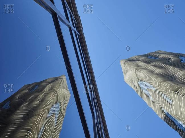 Chicago, Illinois, USA - September 2, 2015: Aqua Tower, reflection in glass facade, Chicago