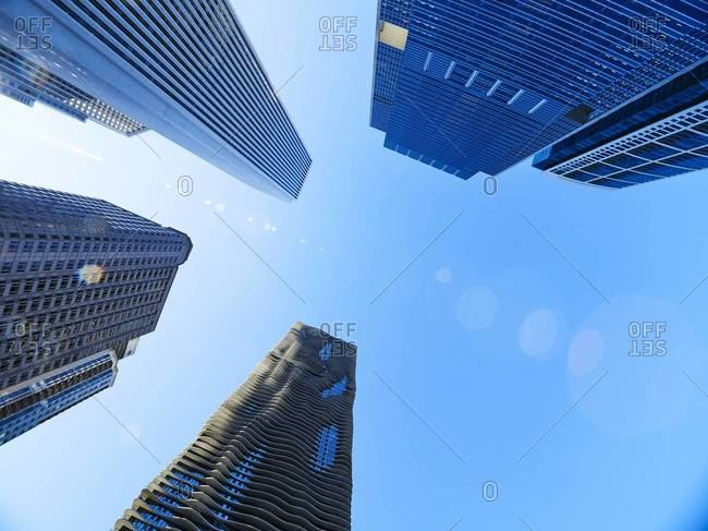 Chicago, Illinois, USA - September 2, 2015: Aon Center, Aqua Tower, from below, Chicago