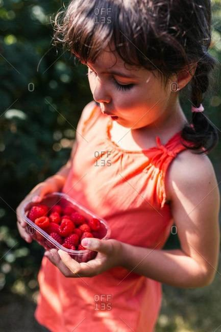 Little girl with plastic box of raspberries