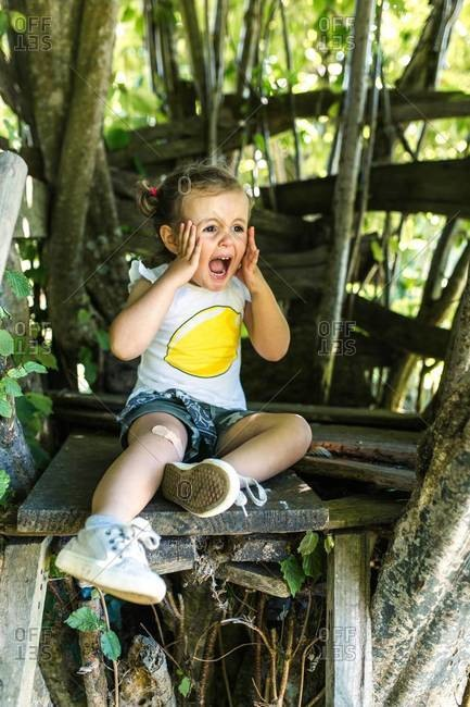 Portrait of screaming little girl sitting in the garden