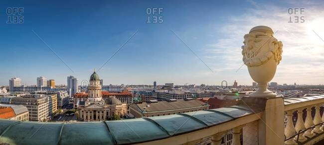 Panoramic city view from roof terrace of French Cathedral, Berlin