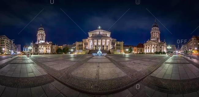 Panoramic view of Gendarmenmarkt by night, Berlin