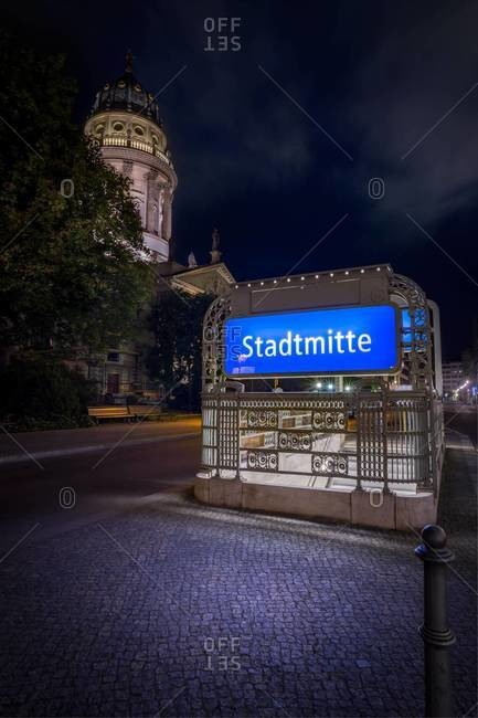 Underground sign at Gendarmenmarkt by night, Berlin