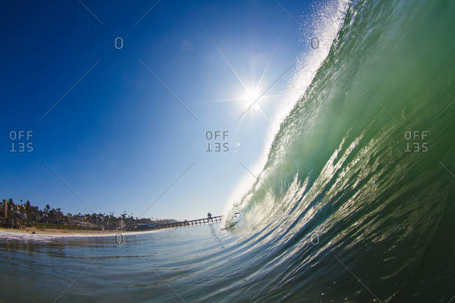 Cresting wave in southern California