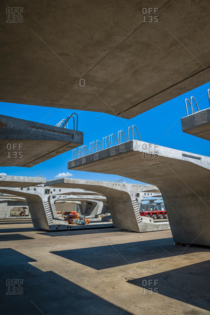 Concrete segments for the new Bayonne Bridge stored in New Jersey