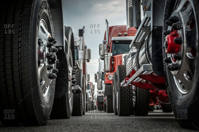 A row of trucks at the Port of Vancouver, Washington, USA