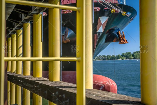 A ship docked at the Port of Vancouver, Washington, USA