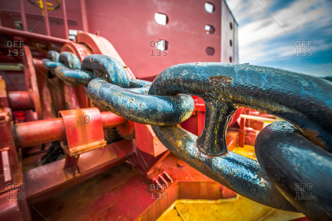 An anchor chain aboard a cargo ship at the Port of Vancouver, Washington, USA