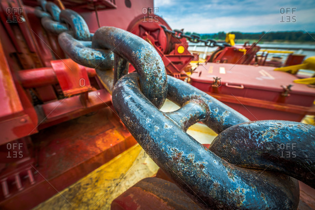 An anchor chain aboard a cargo ship at the Port of Vancouver in Washington, USA