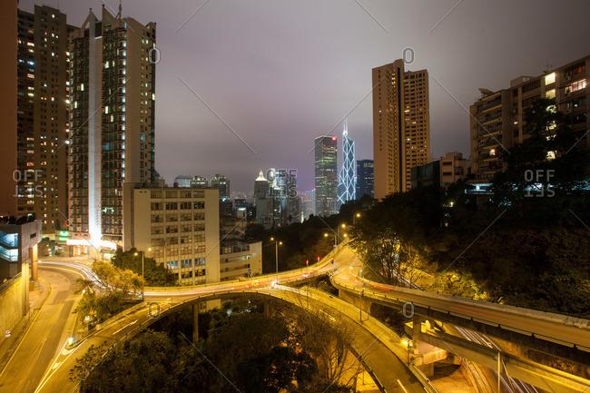 Hong Kong roadway and high rises