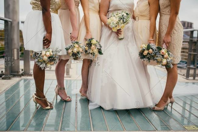 Neck down view of bride with bridesmaids standing on deck