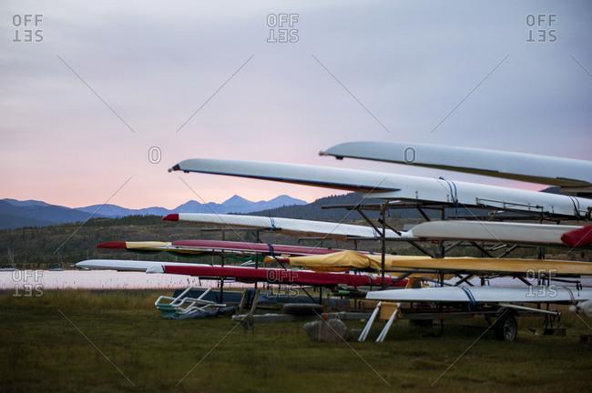 Long kayaks on a rack