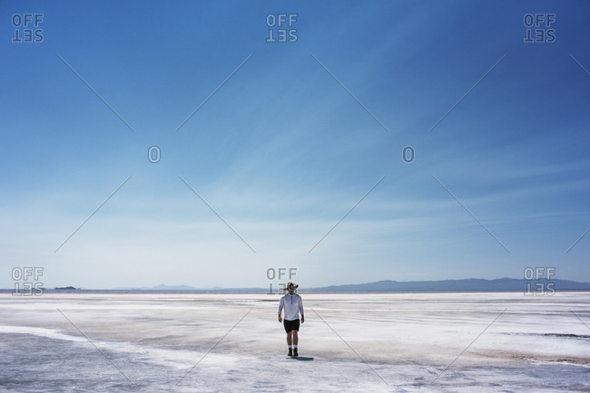 Man at The Great Salt Lake, Utah