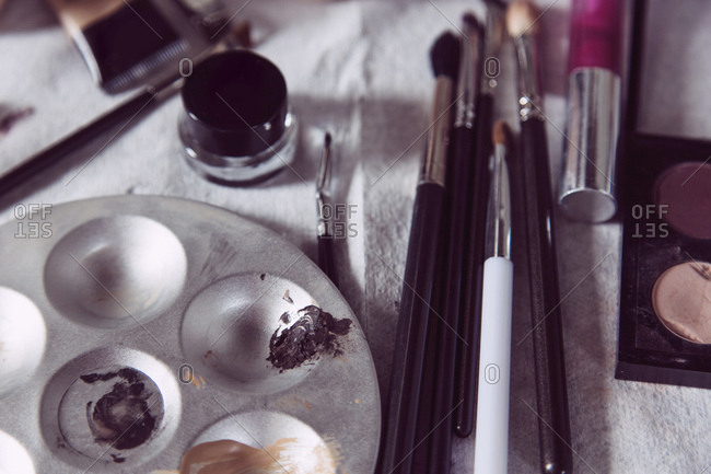 Makeup artist's tools and cosmetics