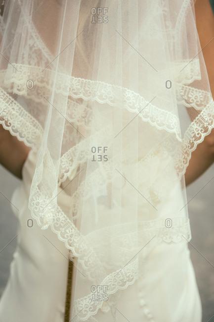 Back view of bride's lace veil