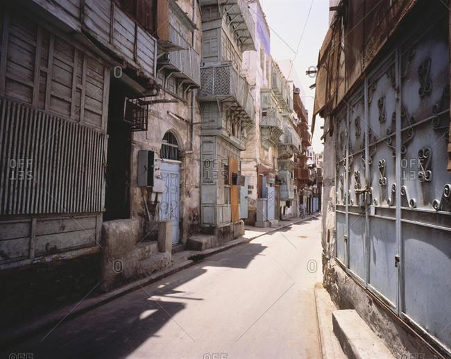 Buildings and Narrow Street, Old City of Jeddah, Saudi Arabia