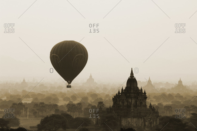 Hot Air Balloon Over North Guni, Bagan, Myanmar