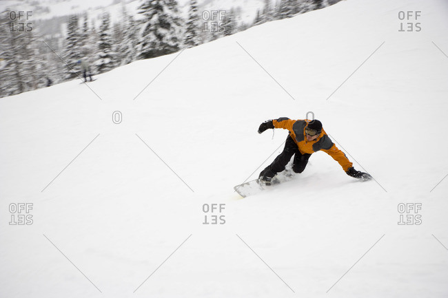 Man Snowboarding, Banff National Park, Alberta, Canada