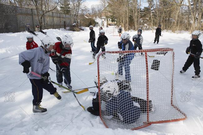 Children Playing Hockey