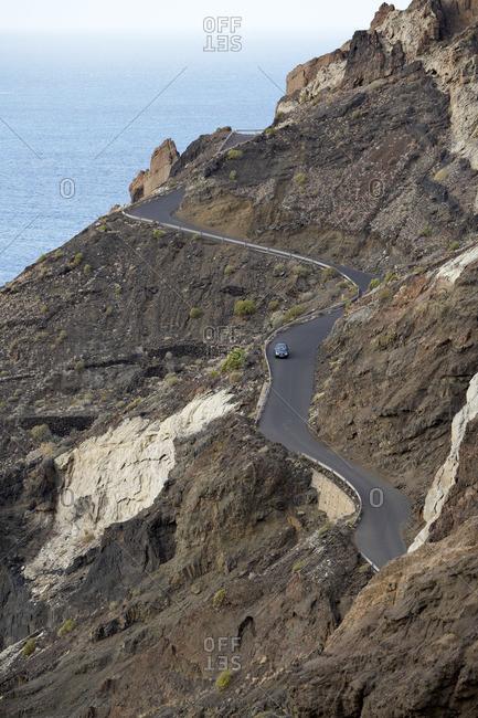 Road on Side of Hill, La Gomera, Canary Islands, Spain