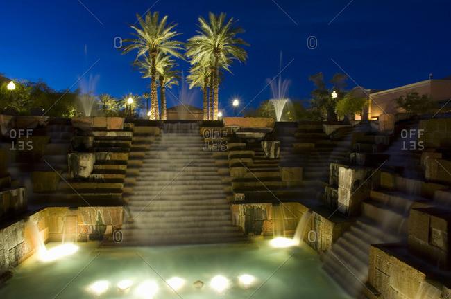 Hotel Pool at Night, Scottsdale, Arizona, USA