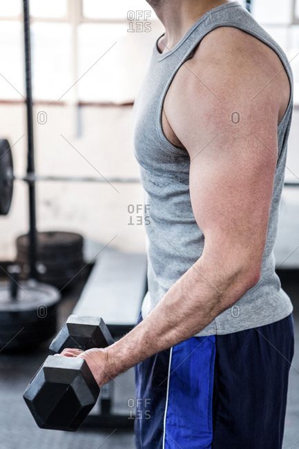 Fit man doing curls with a black dumbbells at the gym