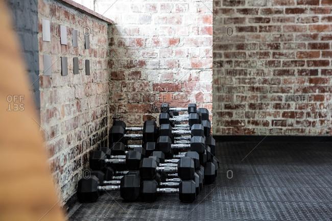 Dumbbells piled in a fitness center