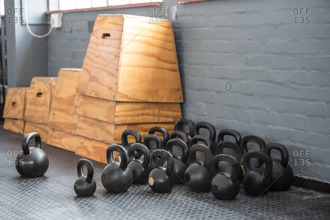 Kettlebells and steps in a fitness center