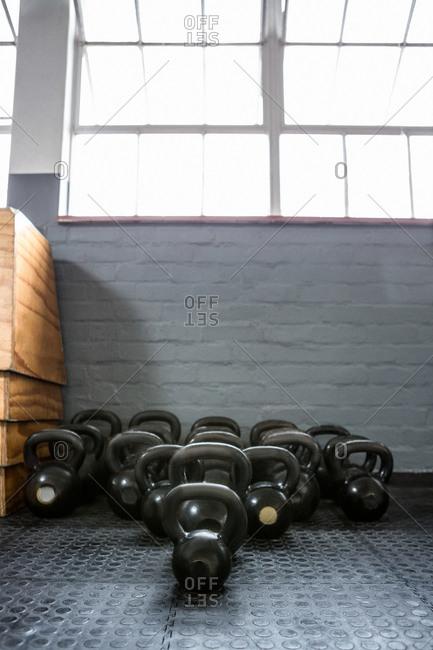 Kettlebells in a gym