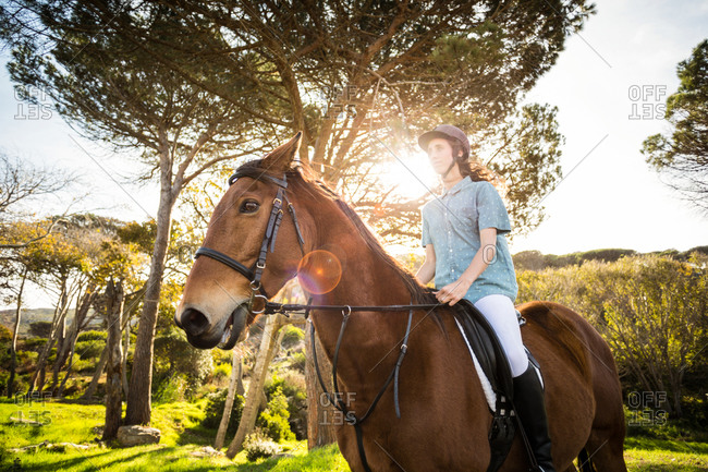 Young woman riding her horse in the countryside