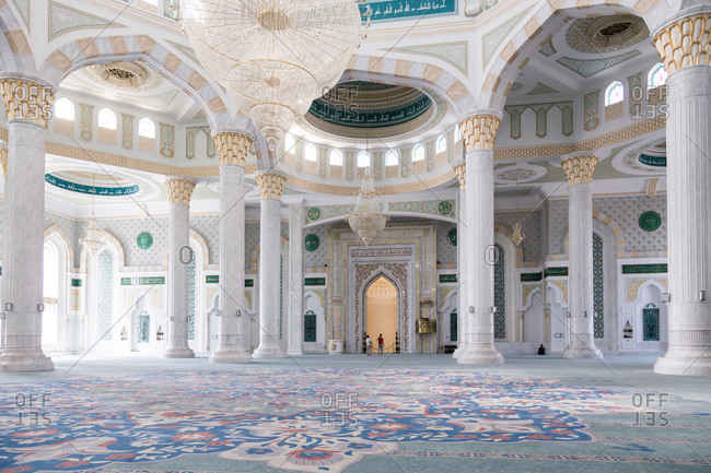 Astana, Kazakhstan - July 19, 2015: Interior of mosque