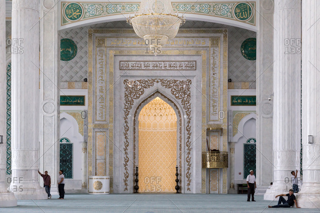 Astana, Kazakhstan - July 19, 2015: Men in mosque