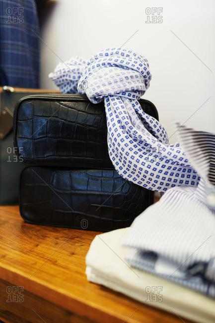 Accessories in men's suit store