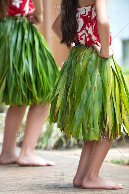 Young hula dancers on Kauai, Hawaii