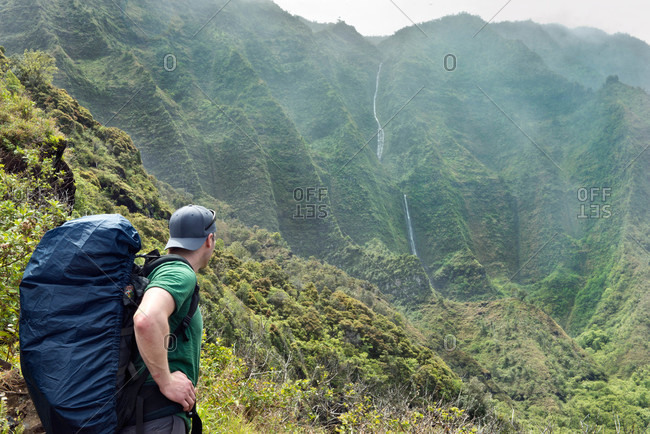 Hiking the Kalalau Trail along Kauai's Napali Coast in Hawaii