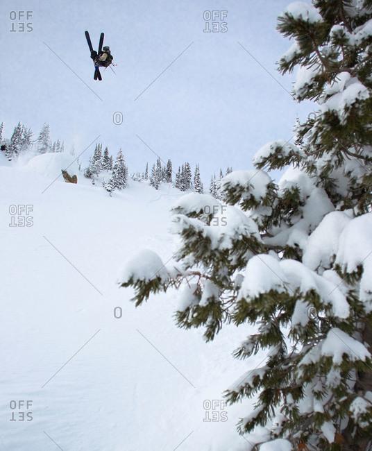 Skier during a midair flip