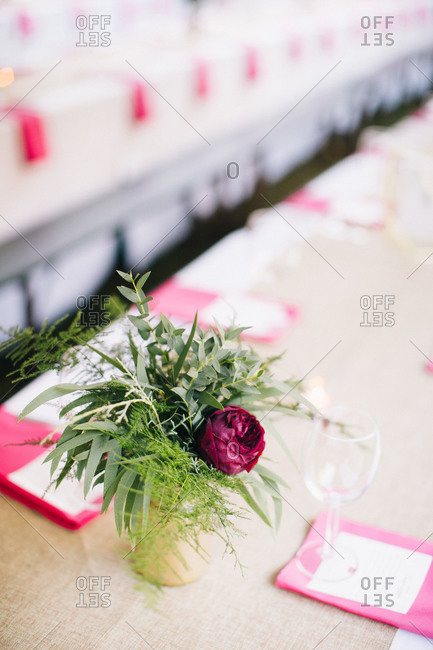 Rose flower decoration on wedding reception table