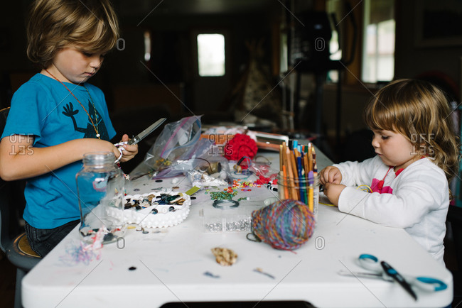 Children doing craft projects