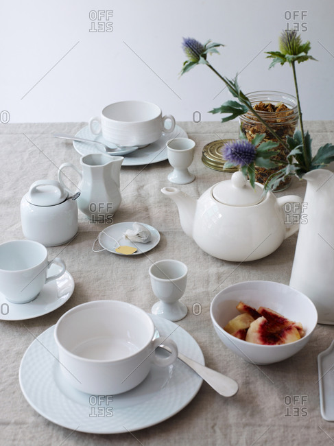 Ceramic tea set on a table