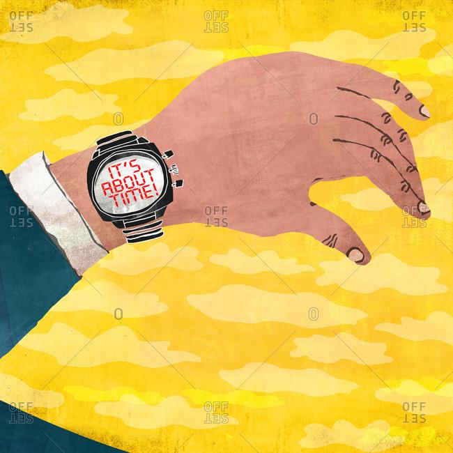 Arm with a wristwatch