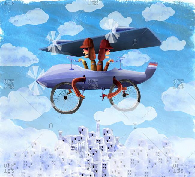 Two airmen in a biplane
