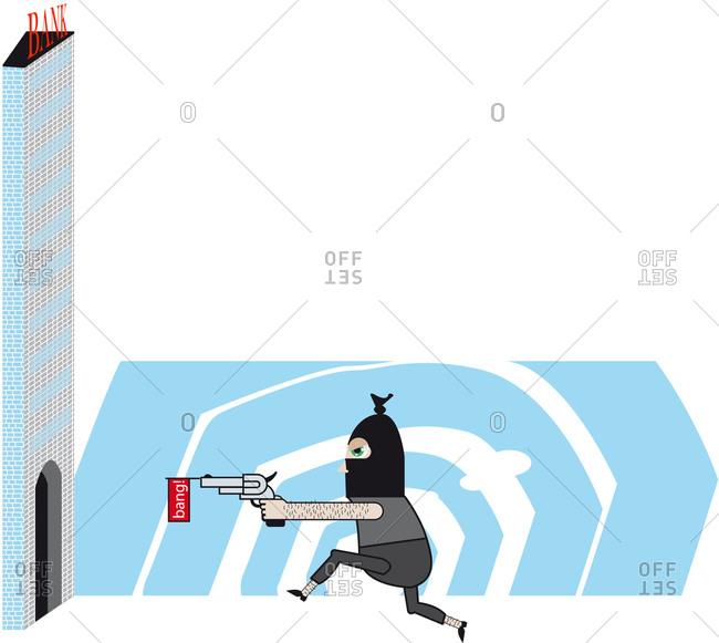 Armed bank robber entering bank