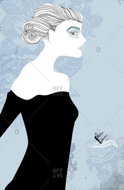 Portrait of woman wearing black shoulderless dress