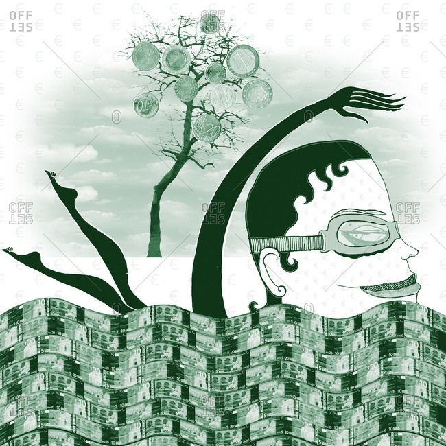Woman swims in money flow