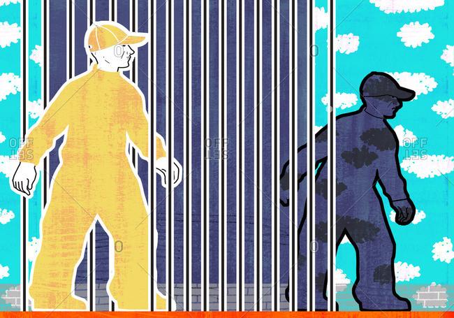 Men leaving a prison - Offset