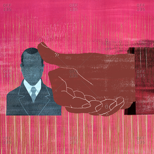 Businessman with face as fingerprint